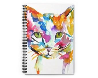 "Cat Watercolor Notebook, Personal Journal, Artwork by Jess Buhman, ""Cat"", Tabby Cat Painting, Colorful Cat Art"