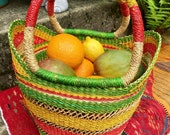 Bolga Shopping Basket. A beautiful Colourful, expertly hand woven Shopping bag. The perfect zero waste Beach Bag. African Basket.