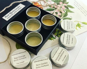 Mood Affinity SAMPLE Set of Five Natural Wisdom Solid Perfumes & Colognes.