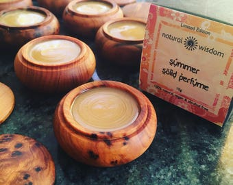 SUMMER A unique solid perfume from Natural Wisdom. 100% natural fragrance. No alcohol. No Cruelty. Vegan. 15 g