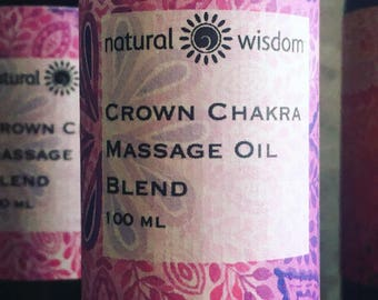 Crown Chakra Body Massage Oil by Natural Wisdom. 100% natural. Vegan. Alcohol free.