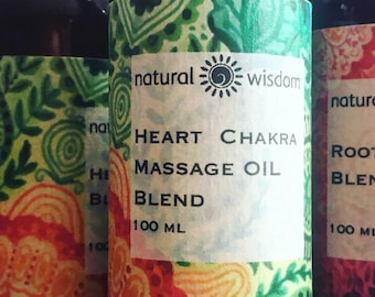 Heart Chakra Body Massage Oil by Natural Wisdom. 100% natural. Vegan. Alcohol free.