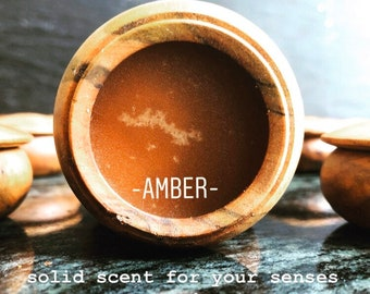 Amber Solid Natural Perfume made with Moroccan Amber resin and essential oils. Perfume Balm.