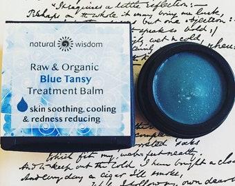 Blue Tansy Raw Organic Treatment Balm. Soothing, cooling, nourishing & restoring. Vegan balm. 15g