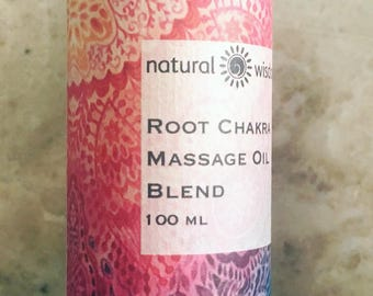Root Chakra Body Massage Oil by Natural Wisdom. 100% natural. Vegan. Alcohol free.