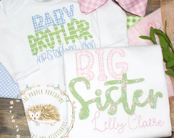 Sibling Set Newborn Gown Little Sister Ruffle Baby Gown Personalized Embroidered Baby Gown
