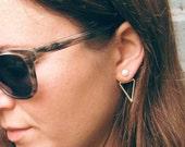 Sterling SILVER Triangle Ear Jacket. Double Sided Earrings. Front Back Earrings white PEARL Studs. Minimalist Geometric SILVER Jewelry.