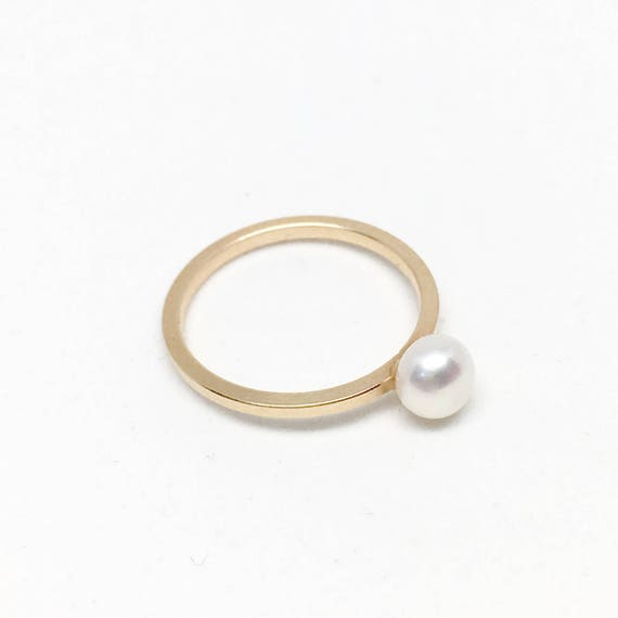 Silver Dainty Ring Twisted Pearl Ring Minimal Gold Filled Ring Small Pearl Ring Double Freshwater Pearl Ring