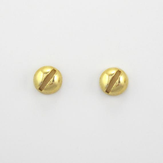10k  14k Gold Hardware Jewelry Solid Gold Screw Studs Tiny 10k  14k gold Slotted  Flat head SCREW Earrings Solid gold 4mm Tiny STUDS