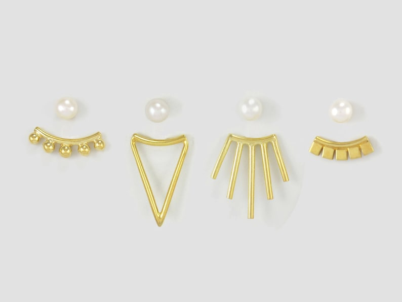 14k Gold Plated 5 Balls Double Sided Earrings with Pearl Studs Front Back Earrings Gold Ear Jacket Earrings White Black Pink Pearl Posts
