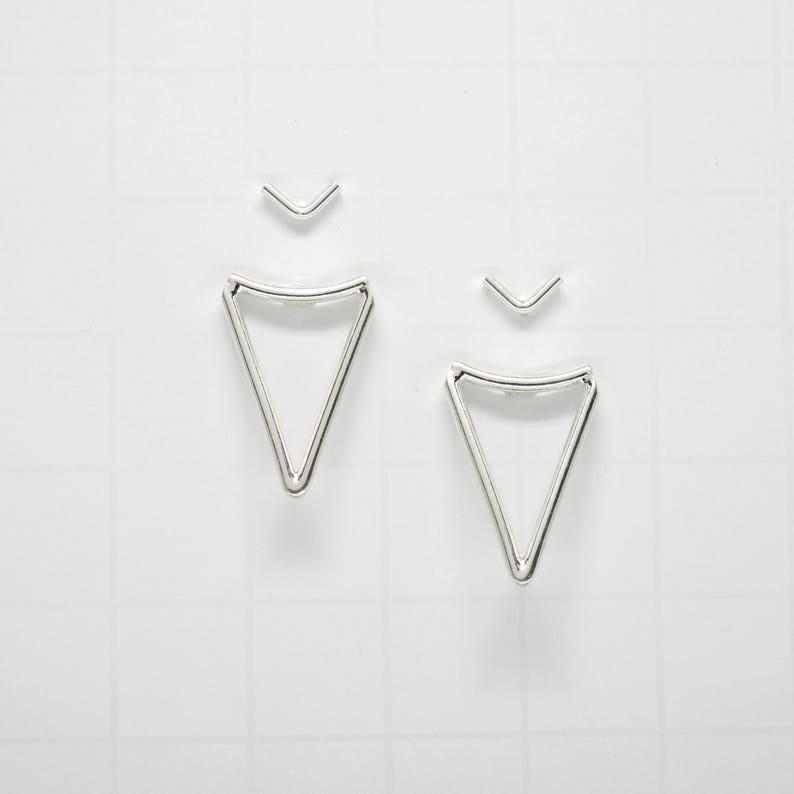 Sterling SILVER Triangle Ear Jacket Earrings Double Sided Minimalist Earrings minimalist SILVER Studs geometric Sterling Silver Studs
