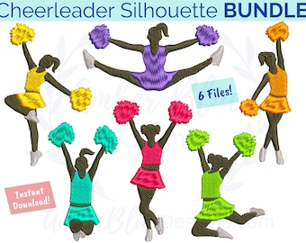 Cheerleader Silhouette Embroidery File BUNDLE, Leap Split Tutu Jazz Dance Cheer Pose, Machine Embroidery Design Instant Download
