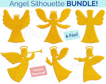 Angel Silhouette Embroidery File BUNDLE, Faith Christmas Religious Christian Catholic Halo Prayer Praying DIY Gift Machine Embroidery Design