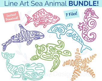 Line Art Sea Animal Embroidery File BUNDLE, Seahorse Whale Starfish Dolphin Fish Turtle Ocean Marine Vacation Surf Machine Embroidery Design