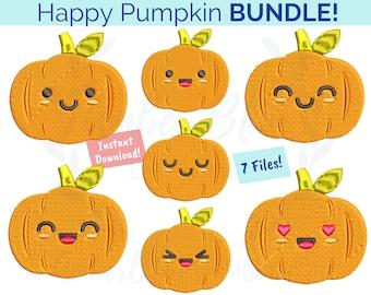 Happy Pumpkin Embroidery File BUNDLE, Emoji Emoticon Emotions Faces Fall Autumn Farm Fresh Harvest, Machine Embroidery Design Download