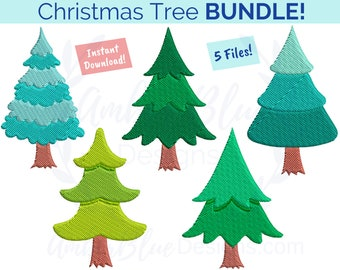 Simple Christmas Tree Embroidery File BUNDLE, Holiday Tree Home Decor Towel Bag DIY Gift Design, Machine Embroidery Design Instant Download