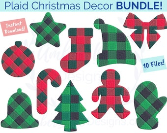 Plaid Christmas Decor Embroidery File BUNDLE, Holiday Ornament Stocking Mitten Star Tree Santa Hat Candy Cane Xmas Machine Embroidery Design