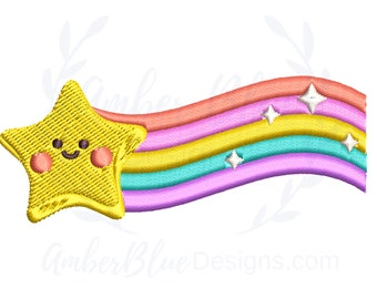 Cute Star Rainbow Embroidery File, Happy Star Kids Whimsical, Backpack Book Bag Lunch Bag Hat Towel Shirt Design, Machine Embroidery Design