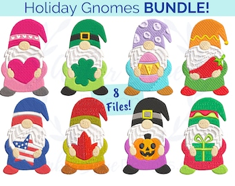 Holiday Gnomes Embroidery File BUNDLE,  All Seasons and Holidays Gnome Lovers, Towel Designs Machine Embroidery Design Instant Download