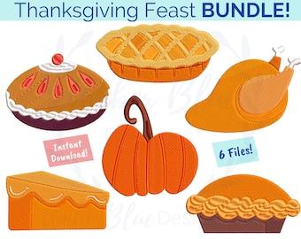Thanksgiving Feast Embroidery File BUNDLE, Fall Autumn Turkey Pumpkin Apple Sweet Potato Pie, Machine Embroidery Design Instant Download