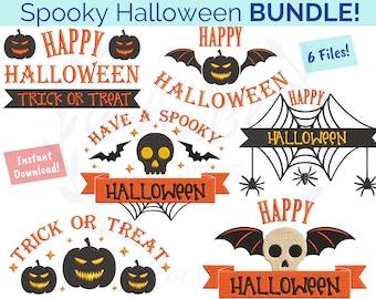 Spooky Happy Halloween Embroidery File BUNDLE, Trick or Treat Creepy Pumpkin Jack O Lantern, Towel Bag DIY Holiday Machine Embroidery Design