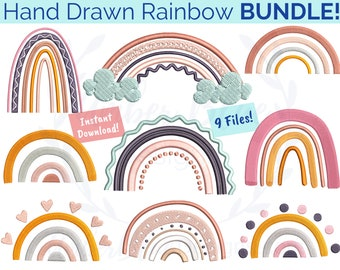 Hand Drawn Rainbow Embroidery File BUNDLE, Modern Clouds Kids Whimsical, Book Bag Lunch Bag Towel Shirt Design, Machine Embroidery Design