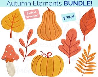 Autumn Elements Embroidery File BUNDLE, Heirloom Pumpkin Fall Leaves Leaf Harvest Mushroom Seasonal Decorative, Machine Embroidery Design