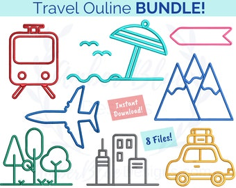 Travel Outline Embroidery File BUNDLE, Vacation Holiday Mountains Beach City Forest Train Car Plane, Machine Embroidery Design Download