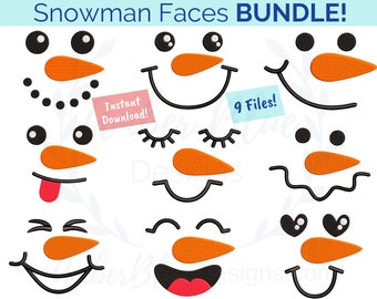 Snowman Faces Embroidery File BUNDLE, Winter Holiday Snow, Bag Towel Hat DIY Gift Design, Machine Embroidery Design Instant Download