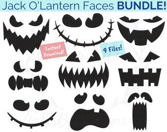 Halloween Jack O'Lantern Faces Embroidery File BUNDLE, Spooky Creepy Pumpkin Silhouette Holiday Bag Hat Towel, Machine Embroidery Design