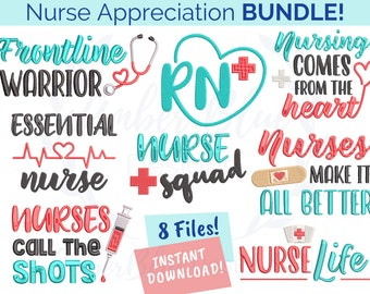 Nurse Appreciation Embroidery File BUNDLE, Essential Nurse, RN Heart, Nurse Life, Nurse Squad, Machine Embroidery Design Instant Download