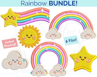 Cute Rainbow Embroidery File BUNDLE, Happy Star Clouds Sun Kids Whimsical, Book Bag Lunch Bag Towel Shirt Design, Machine Embroidery Design