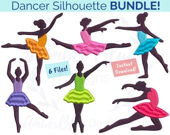 Dancer Silhouette Embroidery File BUNDLE, Ballet Ballerina Leap Split Tutu Jazz Dance Pose, Machine Embroidery Design Instant Download