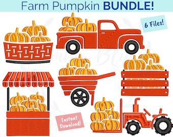 Farm Pumpkin Embroidery File BUNDLE, Fall Autumn Tractor Truck Farm Fresh Harvest Pumpkin Spice, Machine Embroidery Design Instant Download