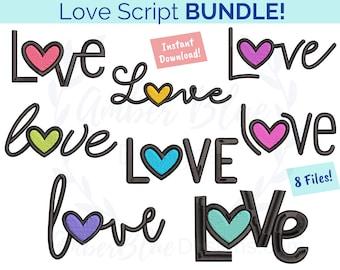 Love Script Embroidery File BUNDLE, Valentines Heart Couple Drawn Hearts, Home Decor Bath Kitchen Towel Design, Machine Embroidery Design