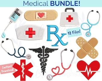 Medical Embroidery File BUNDLE, Doctor EMT Nurse Appreciation Stethoscope Syringe Bandage Heart Rate, Machine Embroidery Design Download