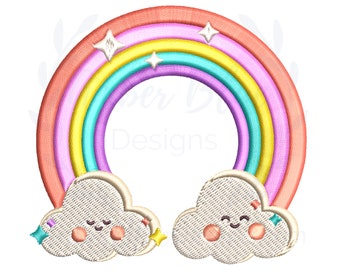 Cute Rainbow Embroidery File, Happy Clouds Kids Whimsical, Backpack Book Bag Lunch Bag Hat Towel Shirt DIY Design, Machine Embroidery Design