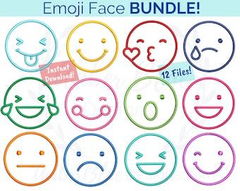 Emoji Face Embroidery File BUNDLE, Emoticons Emotions Smiley Happy Sad Laughing Kissing Blushing, DIY Design, Machine Embroidery Design