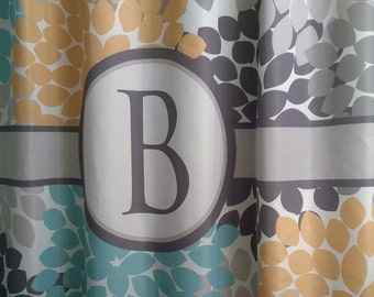 Shower Curtain Dahlia Floral YOU CHOOSE COLORS 70 74 78 84 Or 96 Inch Extra Long Custom Monogram Personalized Luxury Fabric