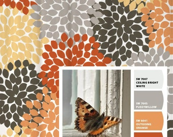 Shower Curtain Gray Orange Monarch Inspired Floral Standard And Long Lengths 70 74 78 84 Or 96 In Lets Make One Your Colors