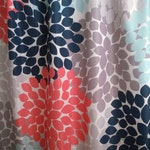 Floral Shower Curtain in trending Navy, Coral, Aqua and Gray Regular and Extra Long Lengths 70, 74, 78, 84 & 96 inches. Our Best Seller!