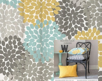 Shower Curtain Yellow Blue Gray Floral Standard And Long Lengths 70 74 78 84 96 In Lets Make One Your Colors