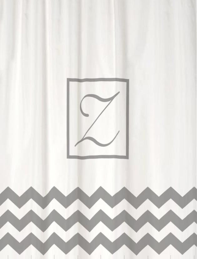 classic monogram shower curtain heavy fabric you choose colors etsy. Black Bedroom Furniture Sets. Home Design Ideas