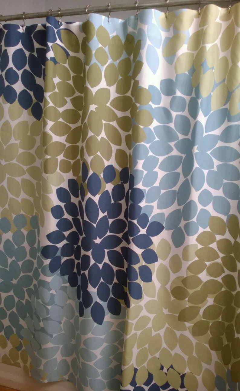 Shower Curtain In Blue And Green Moth Inspired Floral Standard