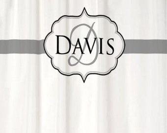 Shower Curtain Spa White CHOOSE ACCENT COLOR 70, 74, 78, 84, or 96 inch Extra Long Monogram Personalized for Your Bathroom in Cool Gray