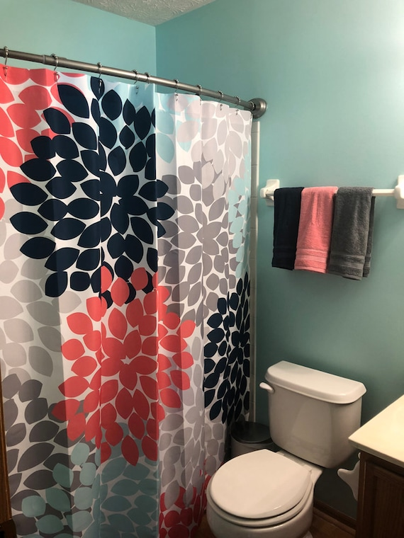 Shower Curtain In Navy Coral Pink Aqua Gray Floral Standard