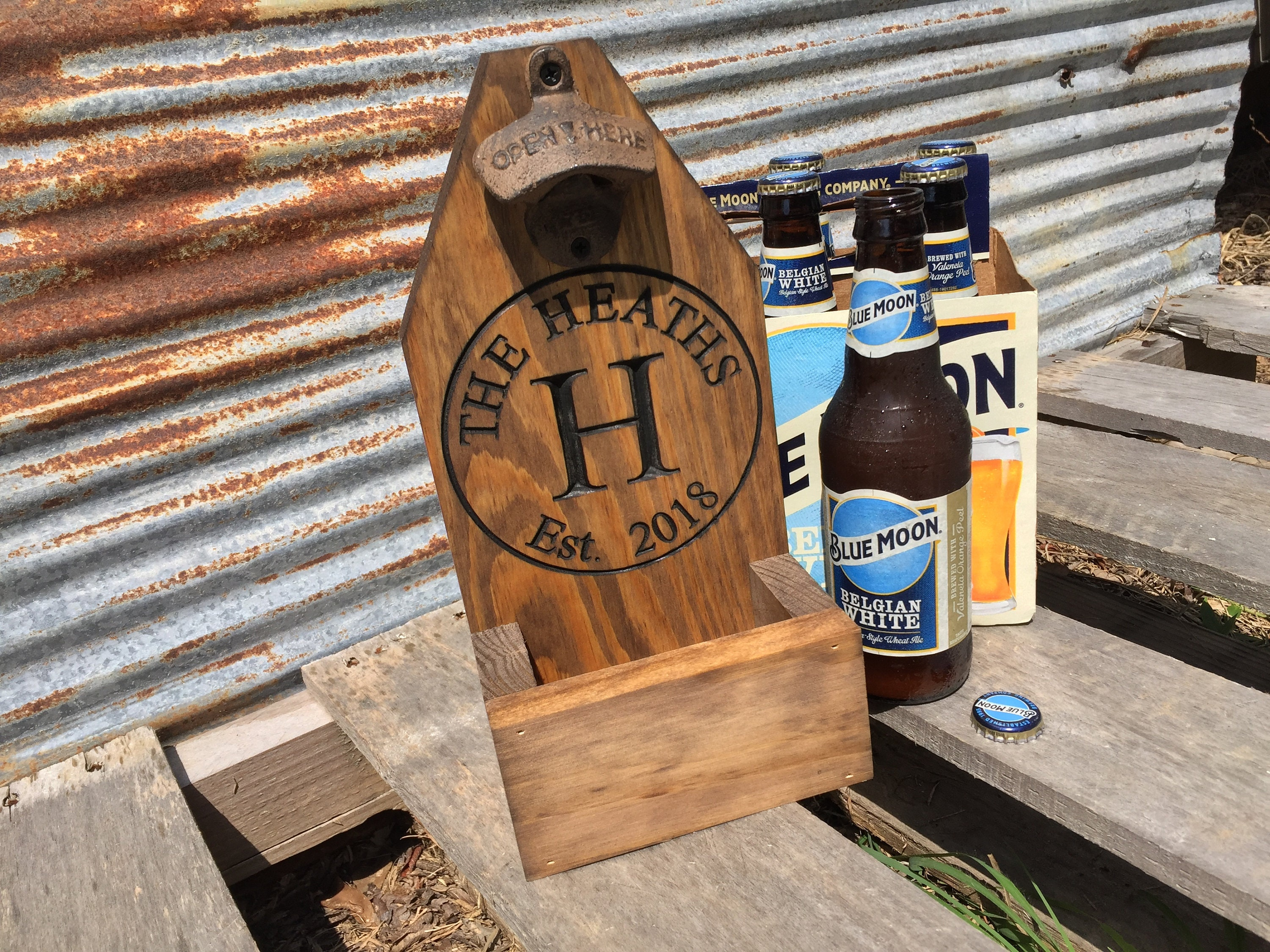 Personalized Beer Bottle Opener Cap Catcher Fathers Day Wedding