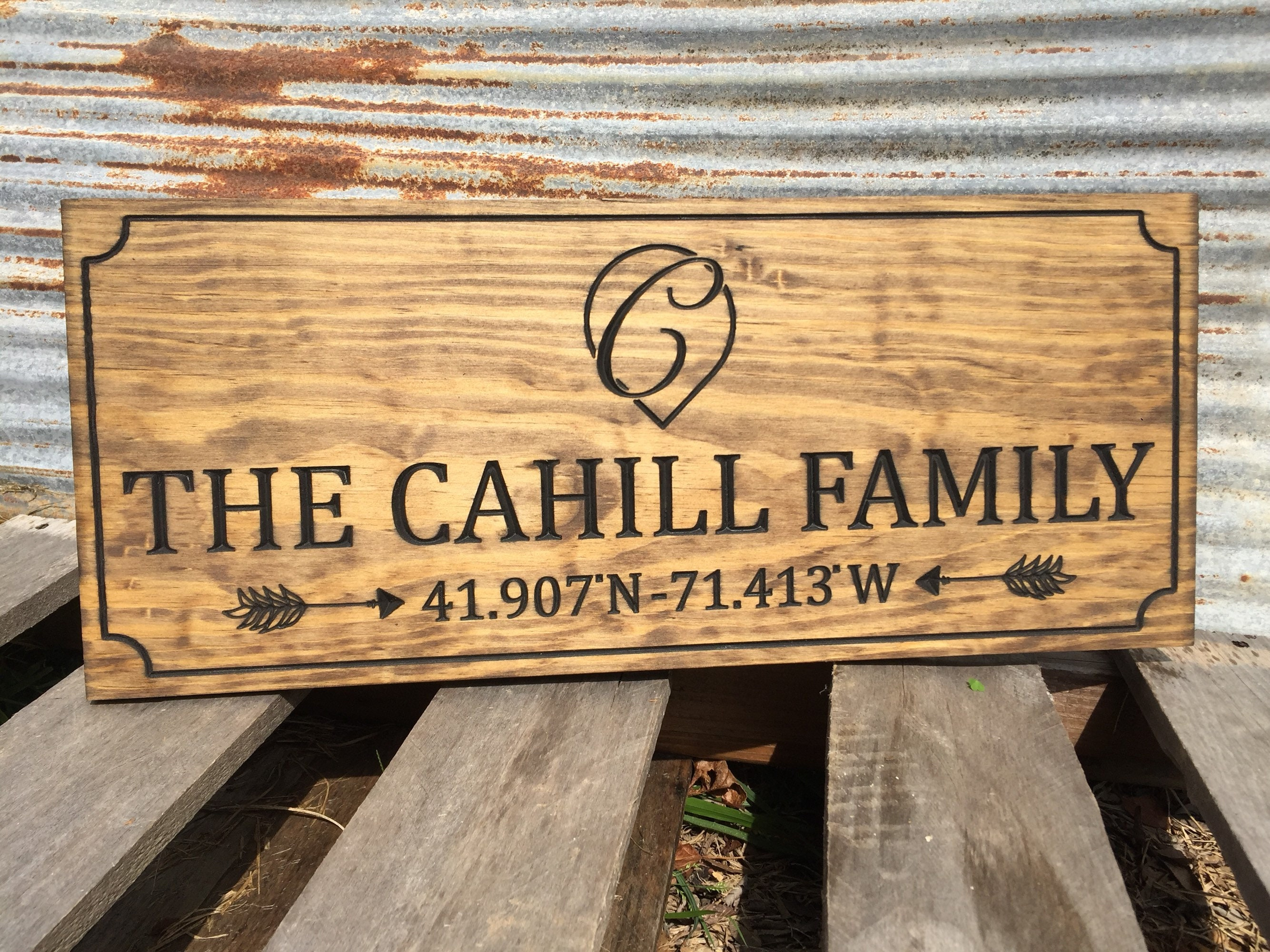 Custom Engraved Family Name Wood Sign Personalized Wooden Plaque ...