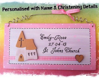 Christening Baptism Naming Day Record Picture Sign Plaque - Personalised with Name and other details, Available for a boy or girl