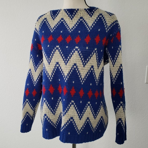 1960s Norwegian Boat Neck Chevron & Lusekofte Wool